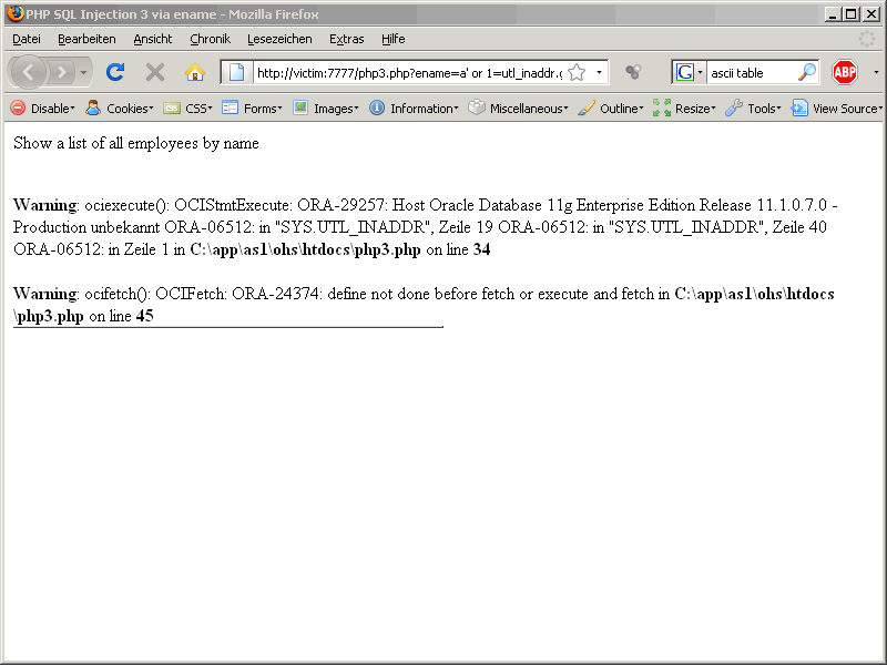 Oracle SQL Injection via Web
